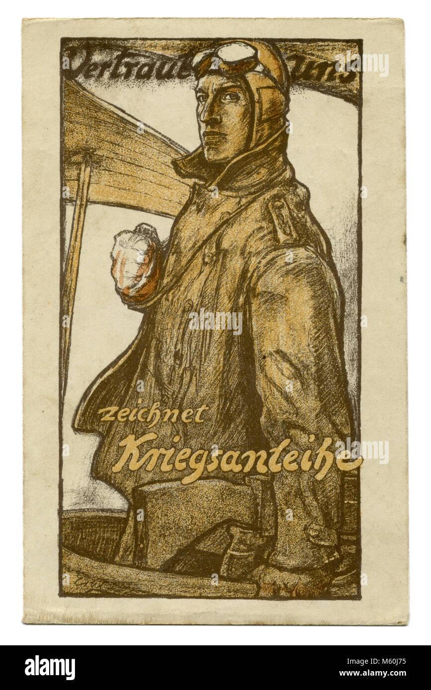 Old German postcard military pilot. Poster. Caption: ' Vertraut uns. Zeichnet Kriegsanleihe'. ('Trust us. Buy War Stock Photo