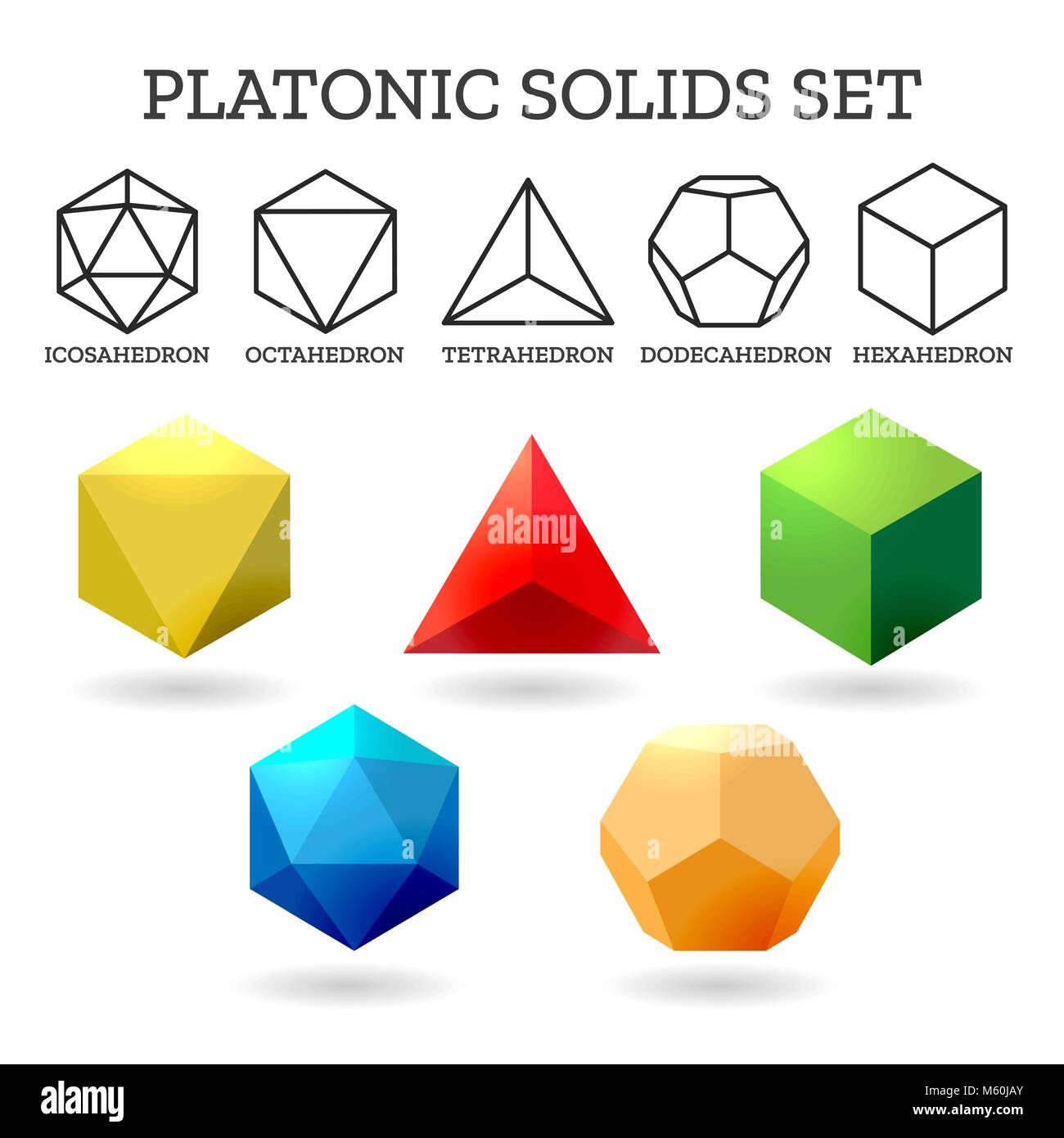 Platonic 3d shapes  Platon geometry abstract solid icons