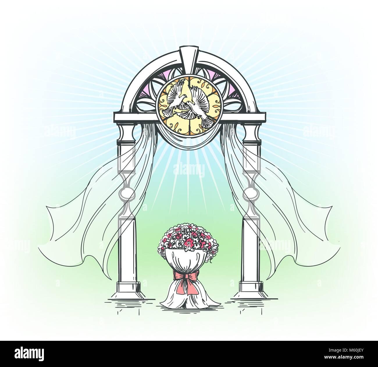 Outdoor Wedding Ceremony No Music: Wedding Arch. Hand Drawn Colored Outdoor Wedding Ceremony