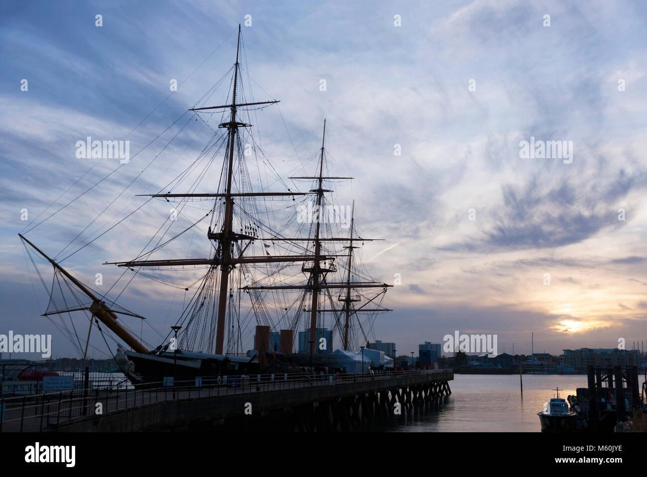 HMS Warrior, at sunset in winter. Portsmouth Historic Dockyard / Historical Dockyards. UK. (95) - Stock Image