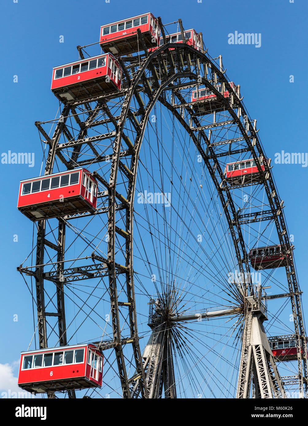 The Wiener Riesenrad Ferris wheel at Prater amusement park, Leopoldstadt, Vienna, Austria - Stock Image