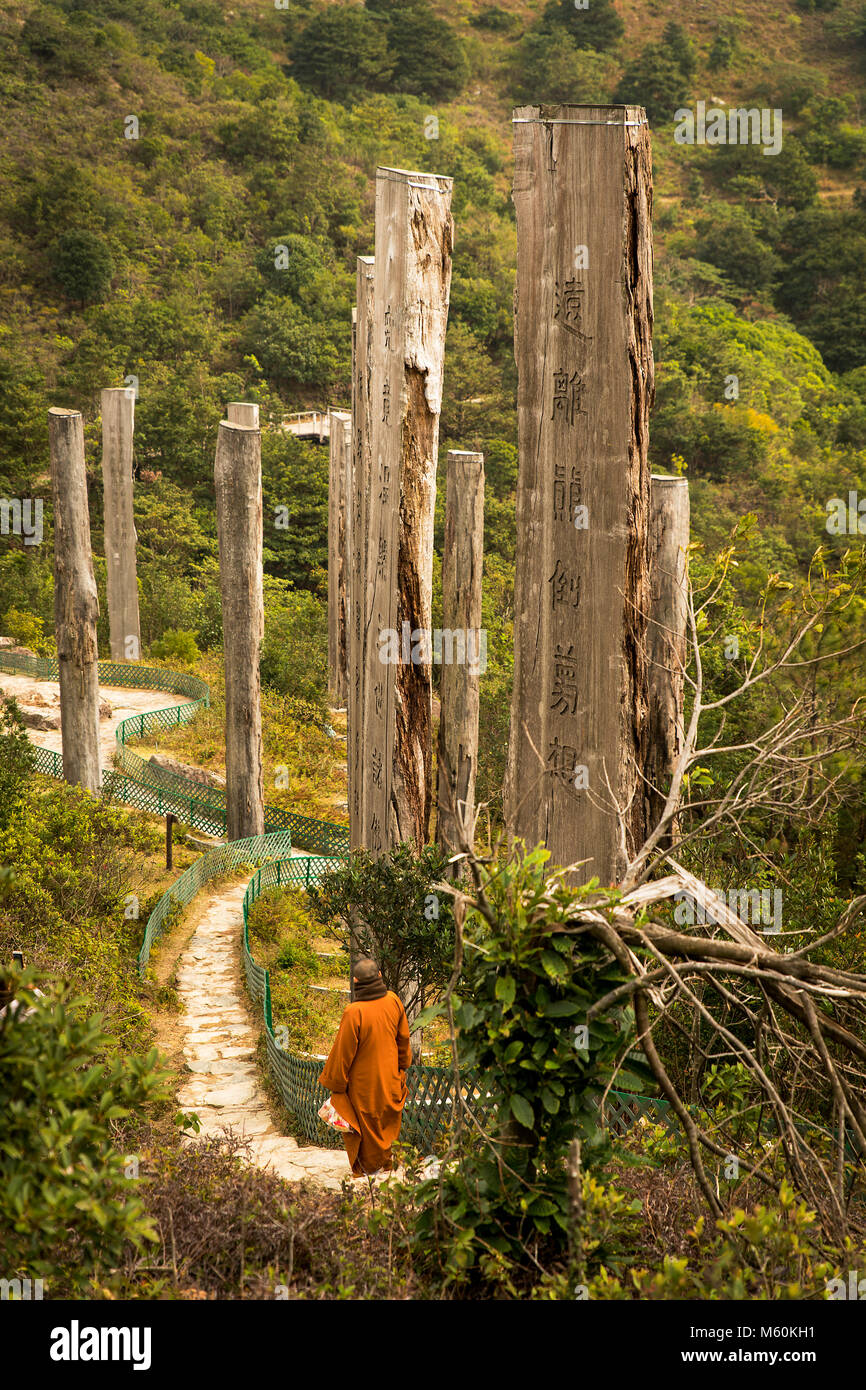 Monk at Wisdom path big buddha hong kong - Stock Image