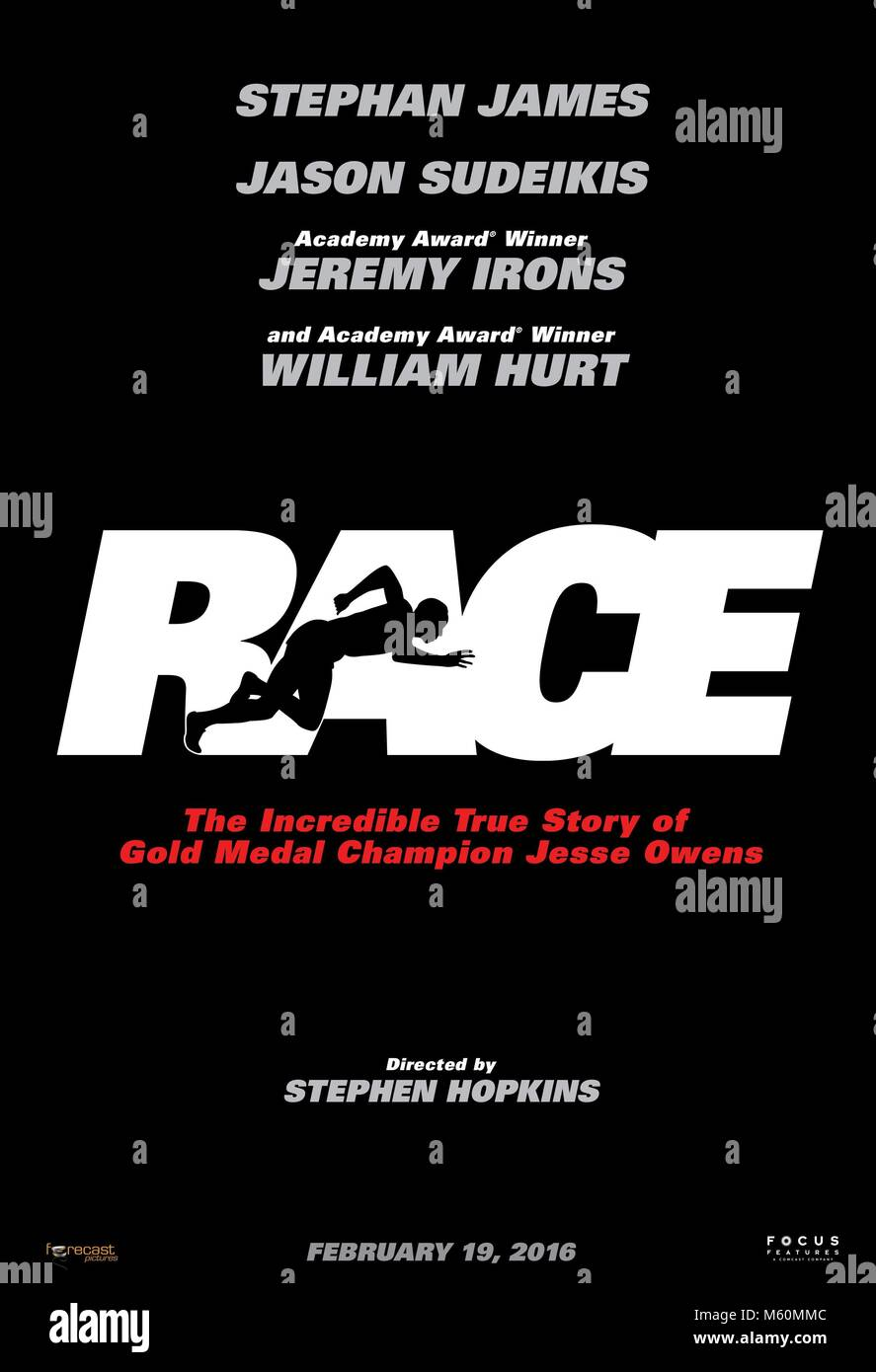 MOVIE POSTER RACE (2016) - Stock Image