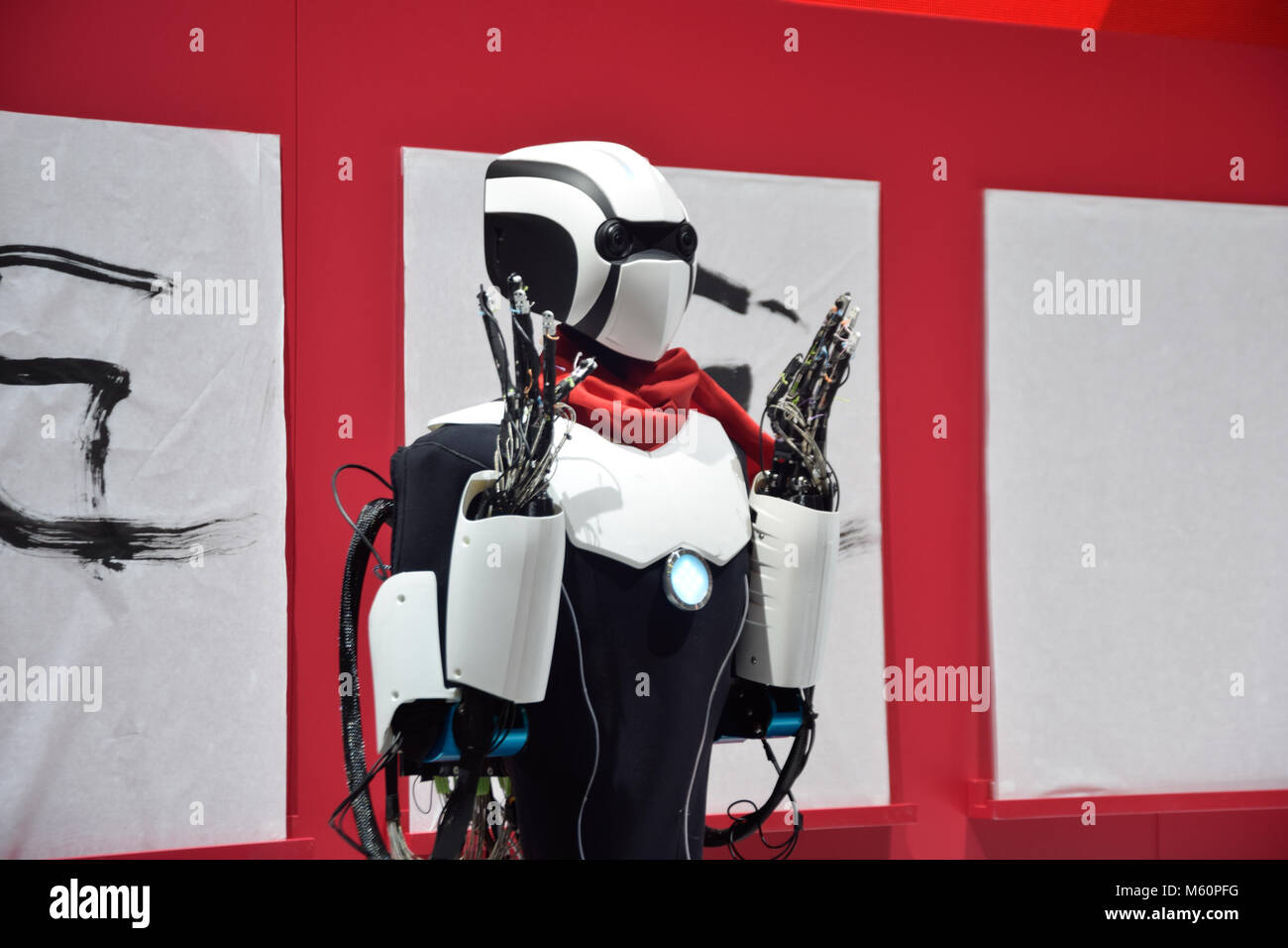 Barcelona, Spain. 26th February, 2018, 5G Robot, Remote Humanoid Assistant, at the MWC in Barcelona, Credit: Jovana - Stock Image