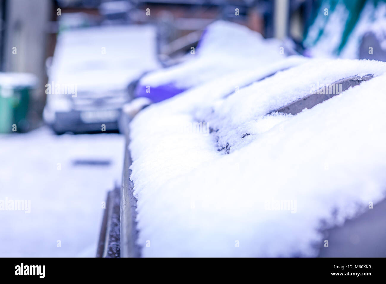 Manchester, England. 27th February 2018. UK temperatures plunge as the Beast from the East brings heavy snowfall. - Stock Image