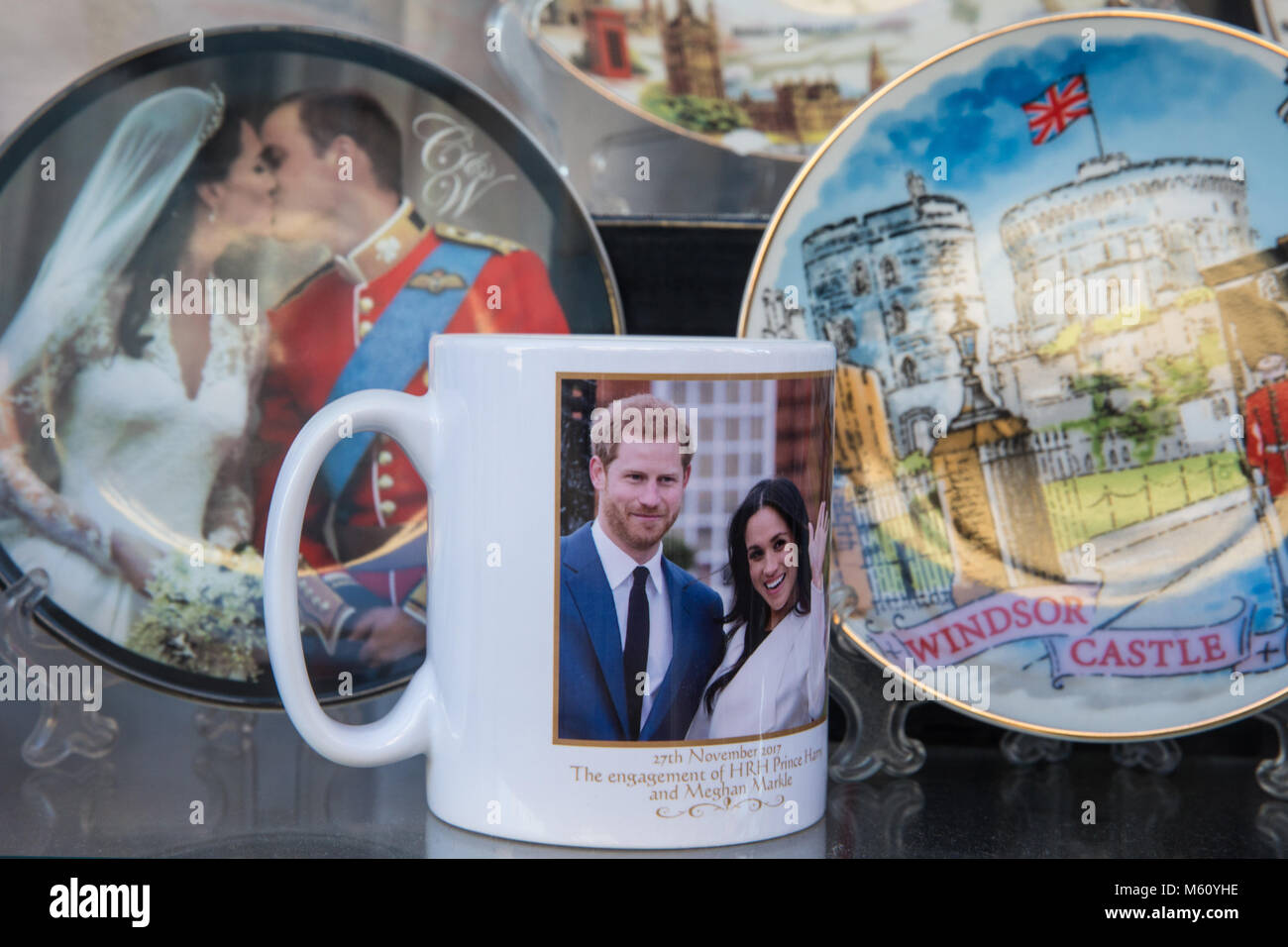 Windsor, UK. 27th February, 2018. Souvenirs for the forthcoming wedding of Prince Harry and Meghan Markle at St Stock Photo