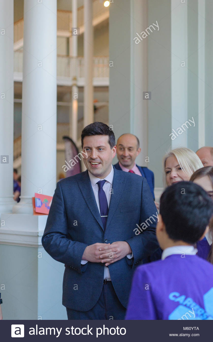 Edinburgh, UK. 27th February, 2018.  Minister for Employability and Training Jamie Hepburn during his visit to Careers - Stock Image