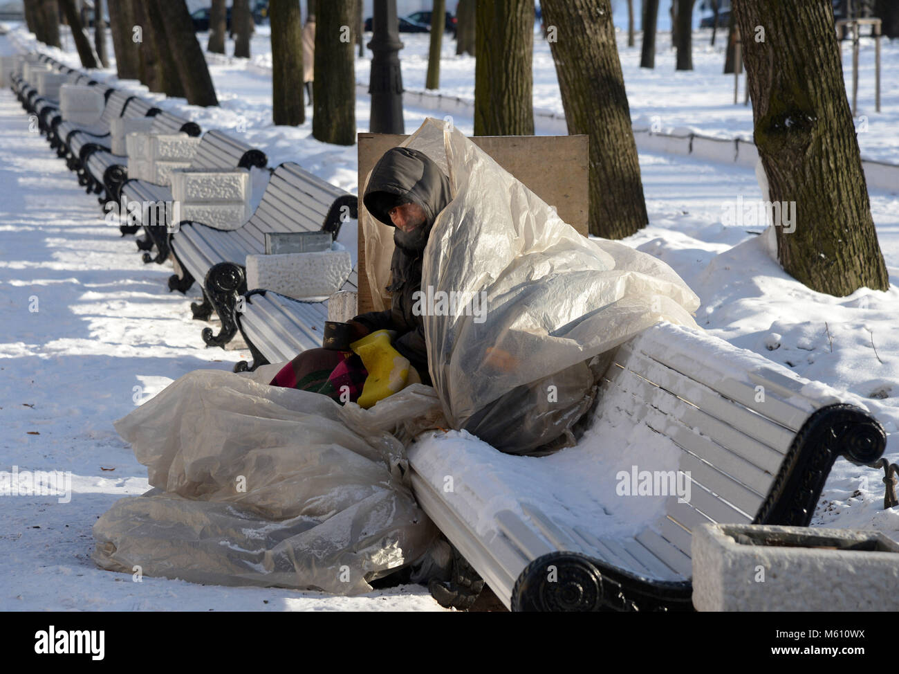 St. Petersburg, Russia. 27th Feb, 2018. Russia, St. Petersburg, February 27, 2018. Homeless Terminator told how - Stock Image