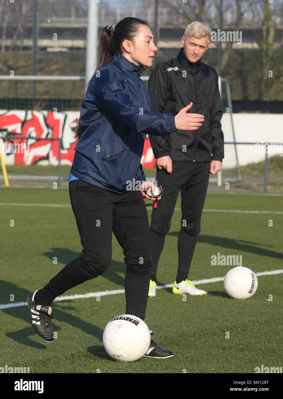 20 February 2018, Germany, Oberhausen: Duygu Erdogan (L), assistant coach of soccer club Rot-Weiss Oberhausen, supervises Stock Photo