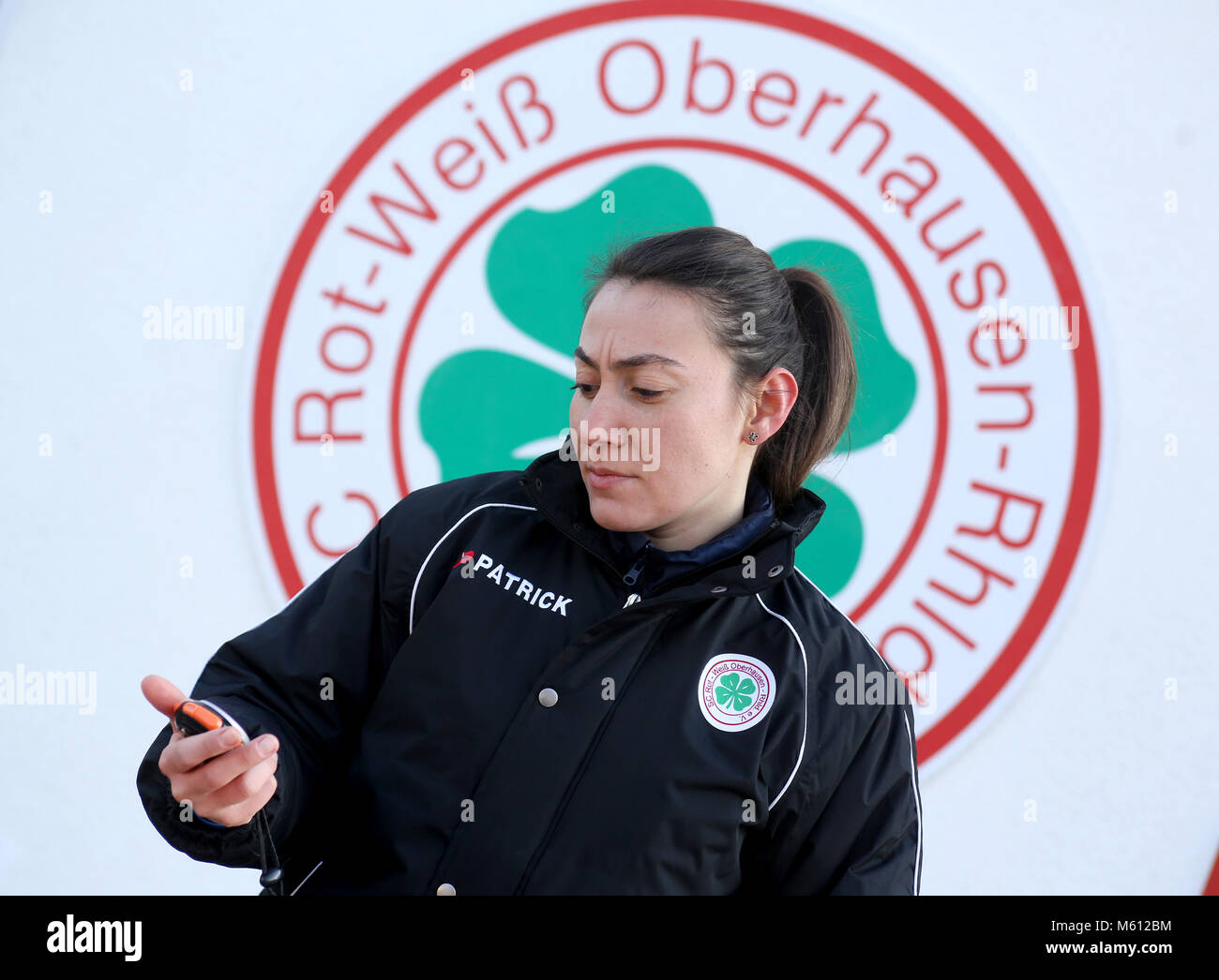 20 February 2018, Germany, Oberhausen: Duygu Erdogan, assistant coach of soccer club Rot-Weiss Oberhausen. 29-year Stock Photo