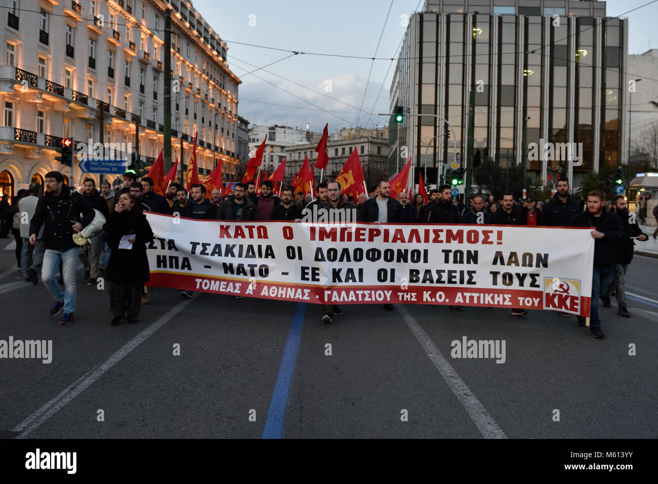 Athens, Greece, 27th February, 2018. Greek Communists march at Syntagma Square protesting against the policies of - Stock Image