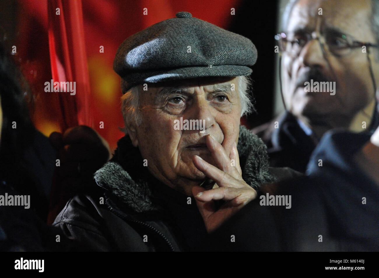 Athens, Greece, 27th February, 2018. An elderly man takes part in the rally of the Greek Communists  against the - Stock Image