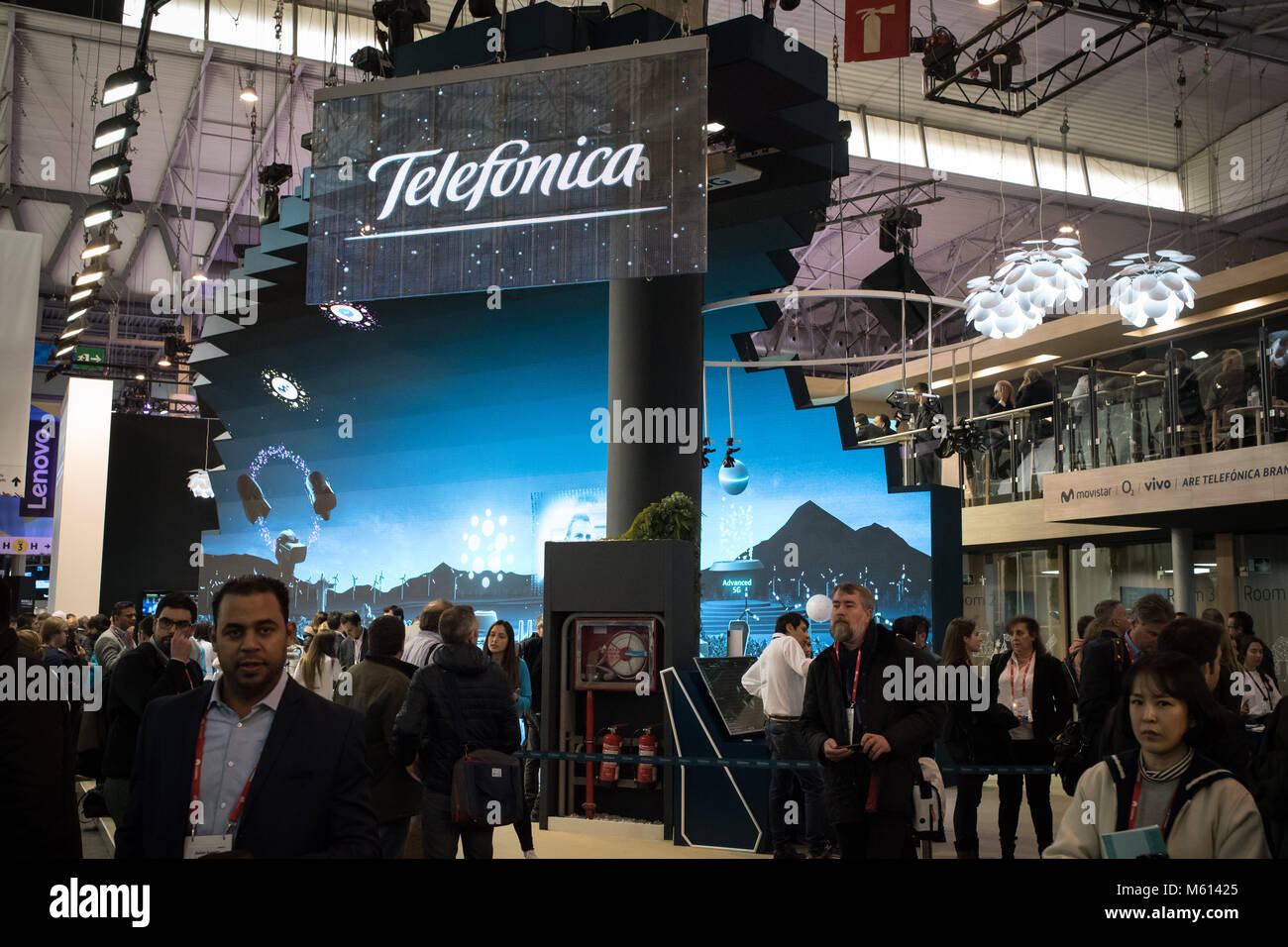 Barcelona, Catalonia, Spain. 27th Feb, 2018. TELEFONICA pavilion at the annual Mobile World Congress 2018, world's - Stock Image