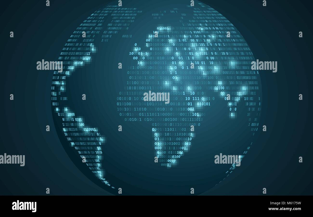 World map from binary code abstract planet earth futuristic stock world map from binary code abstract planet earth futuristic background computer programming code global network vector illustration eps 10 gumiabroncs Image collections