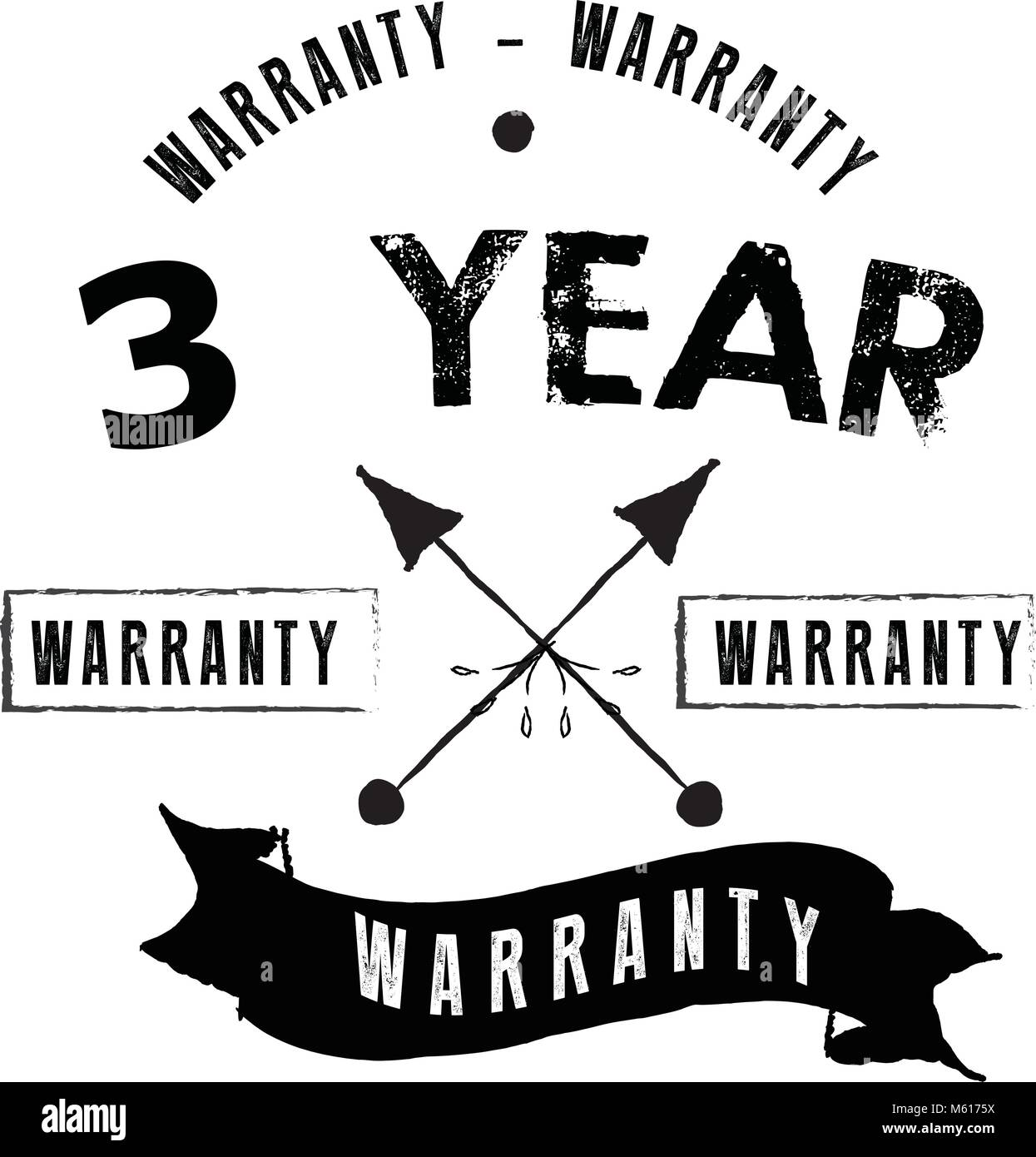3 years warranty icon vintage rubber stamp guarantee Stock Vector