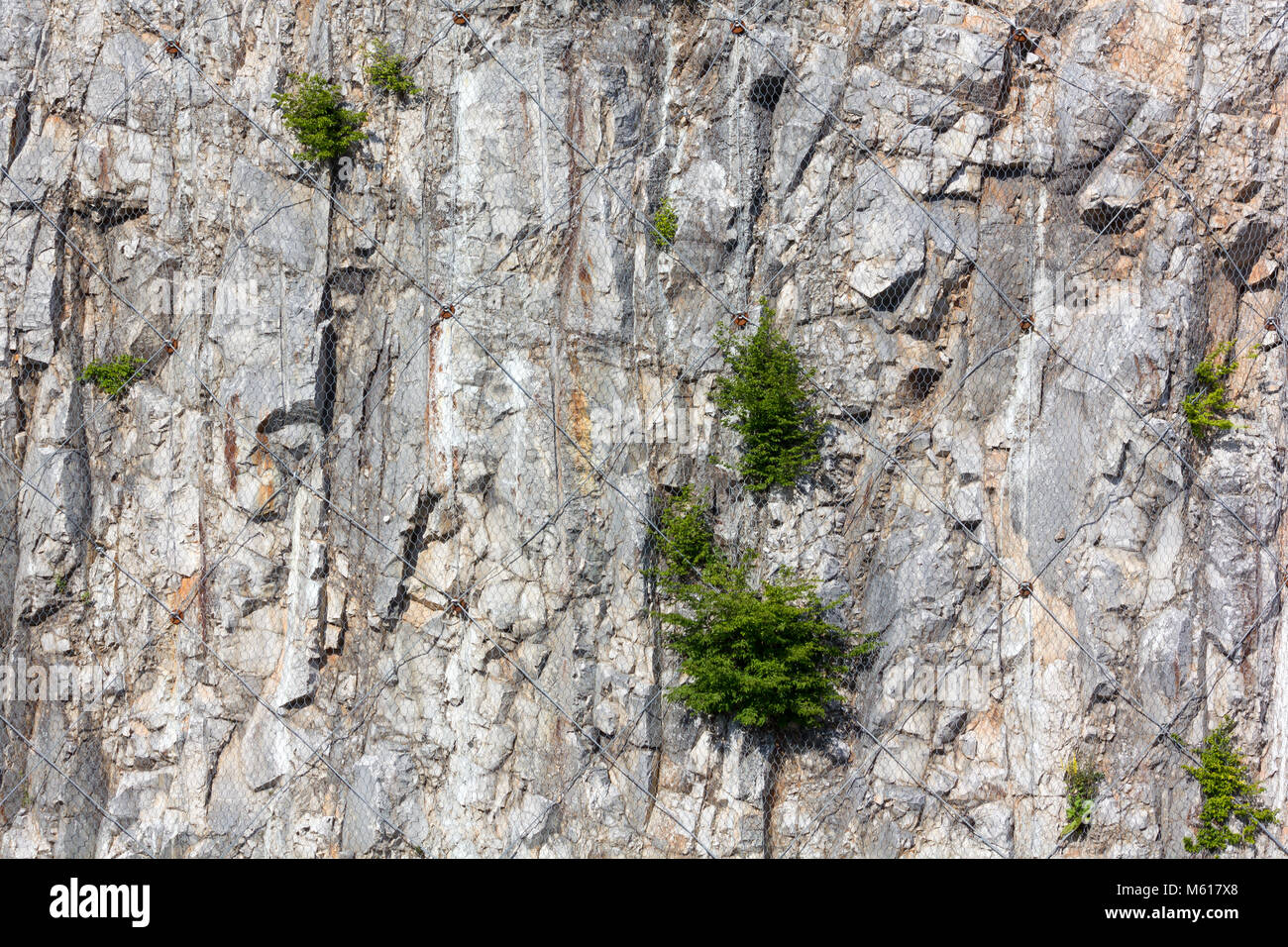 Karst rock face wrapped up in a wire mesh to contain the collapsing of stones Stock Photo