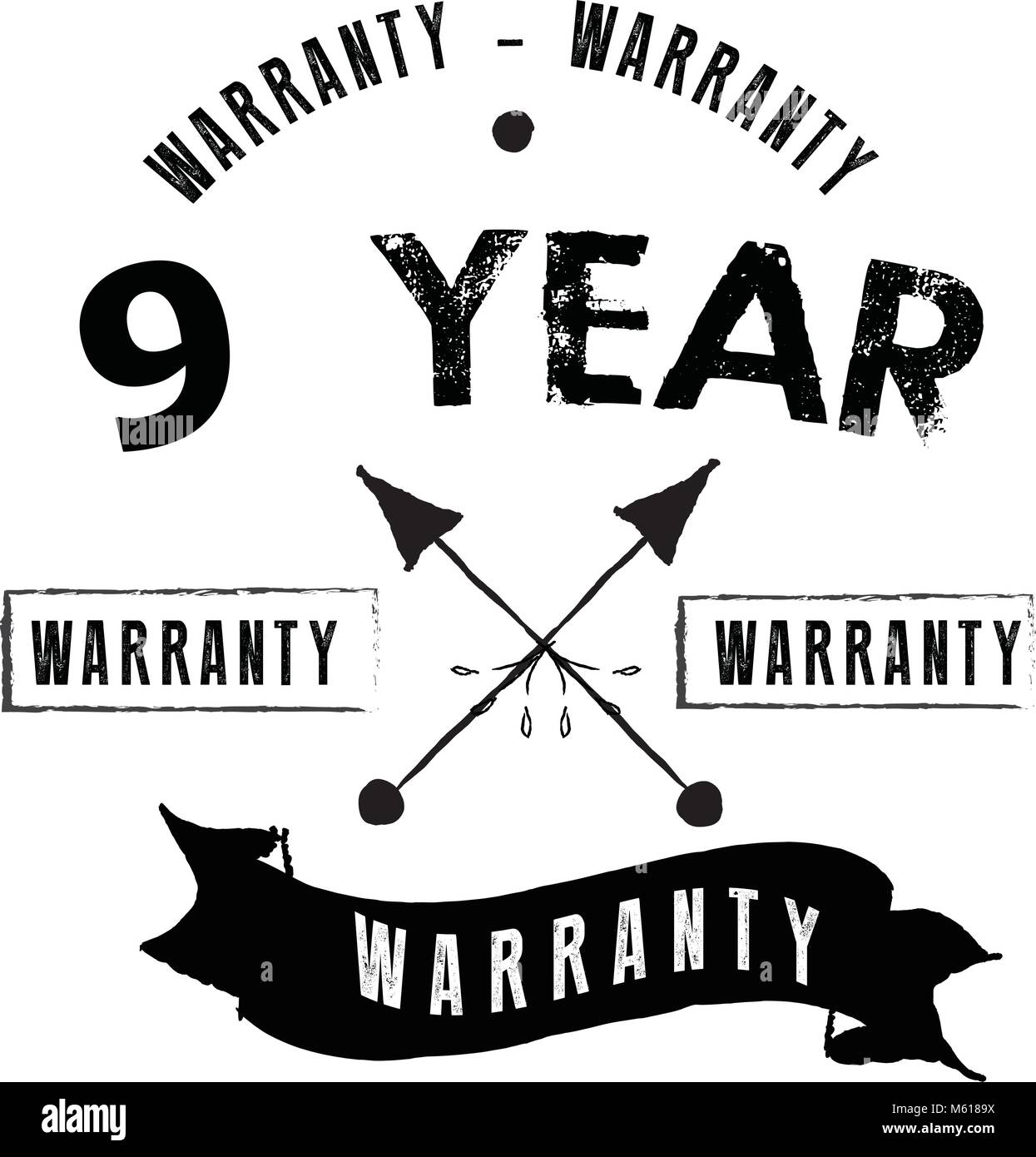 9 years warranty icon vintage rubber stamp guarantee - Stock Vector