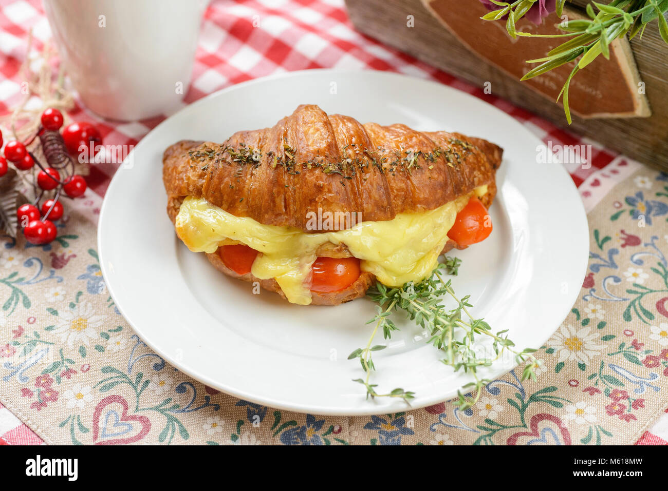 Croissant with Bacon and cheese - Stock Image