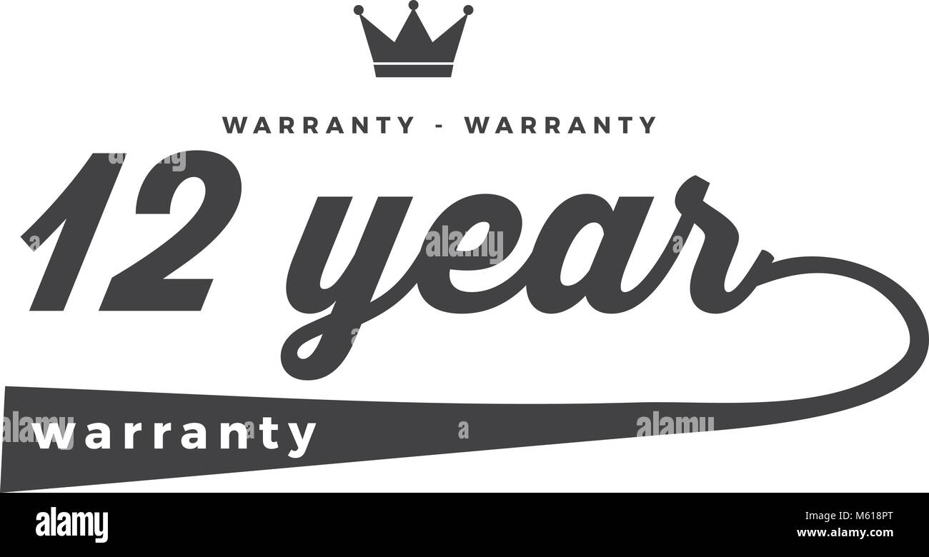 12 years warranty icon vintage rubber stamp guarantee - Stock Vector