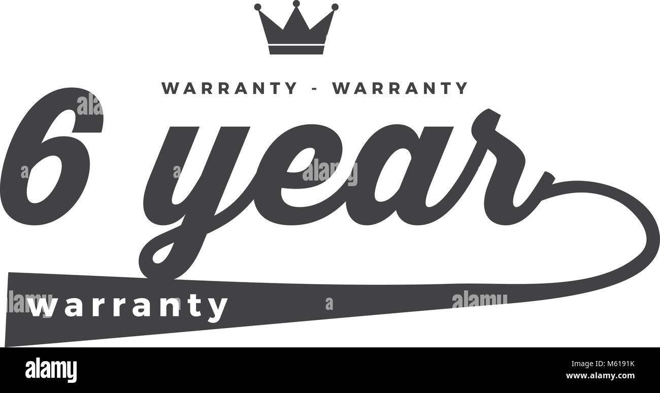 6 years warranty icon vintage rubber stamp guarantee - Stock Vector