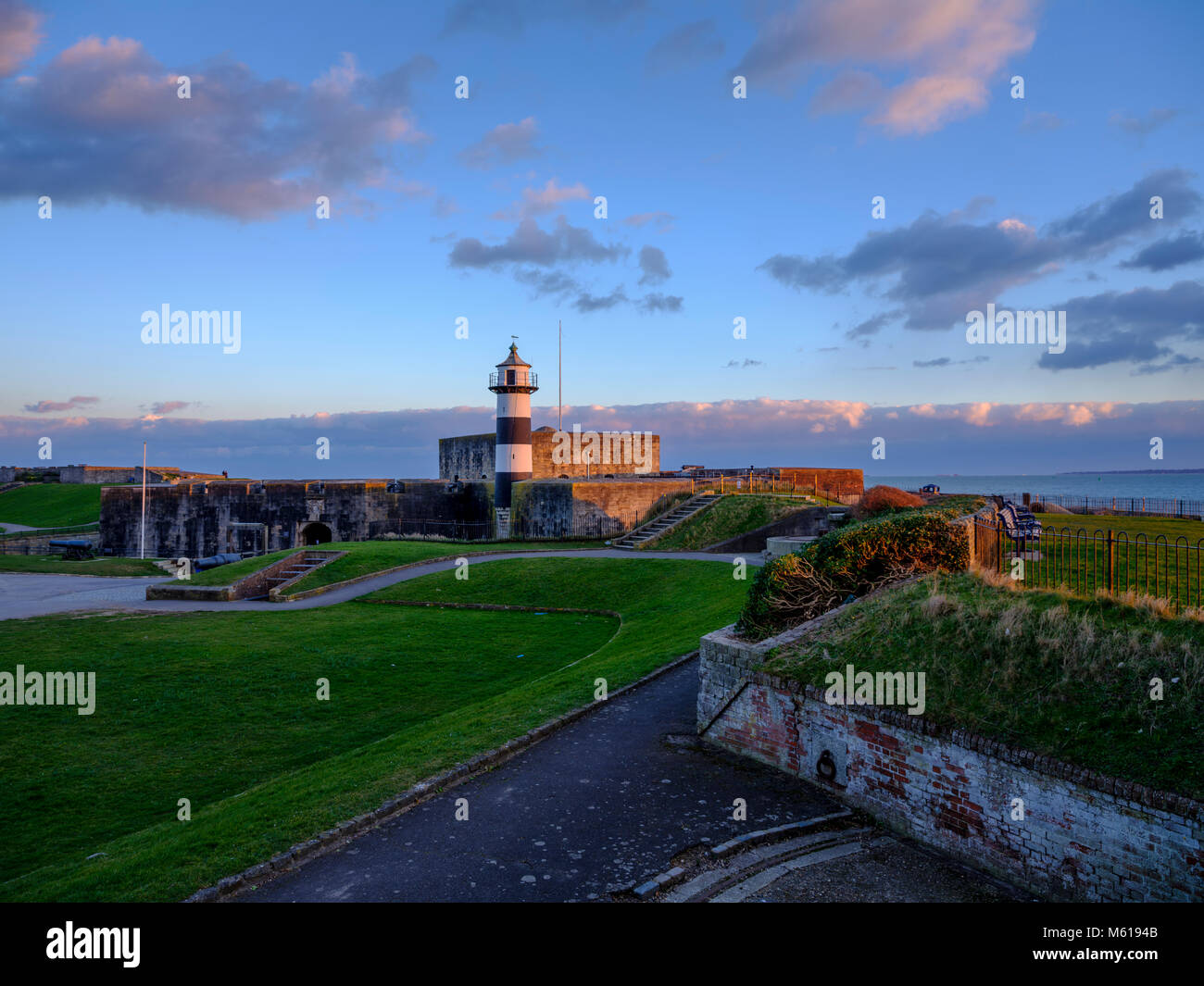 Winter sunset on Southsea Castle, Portsmouth, Hampshire, UK - Stock Image