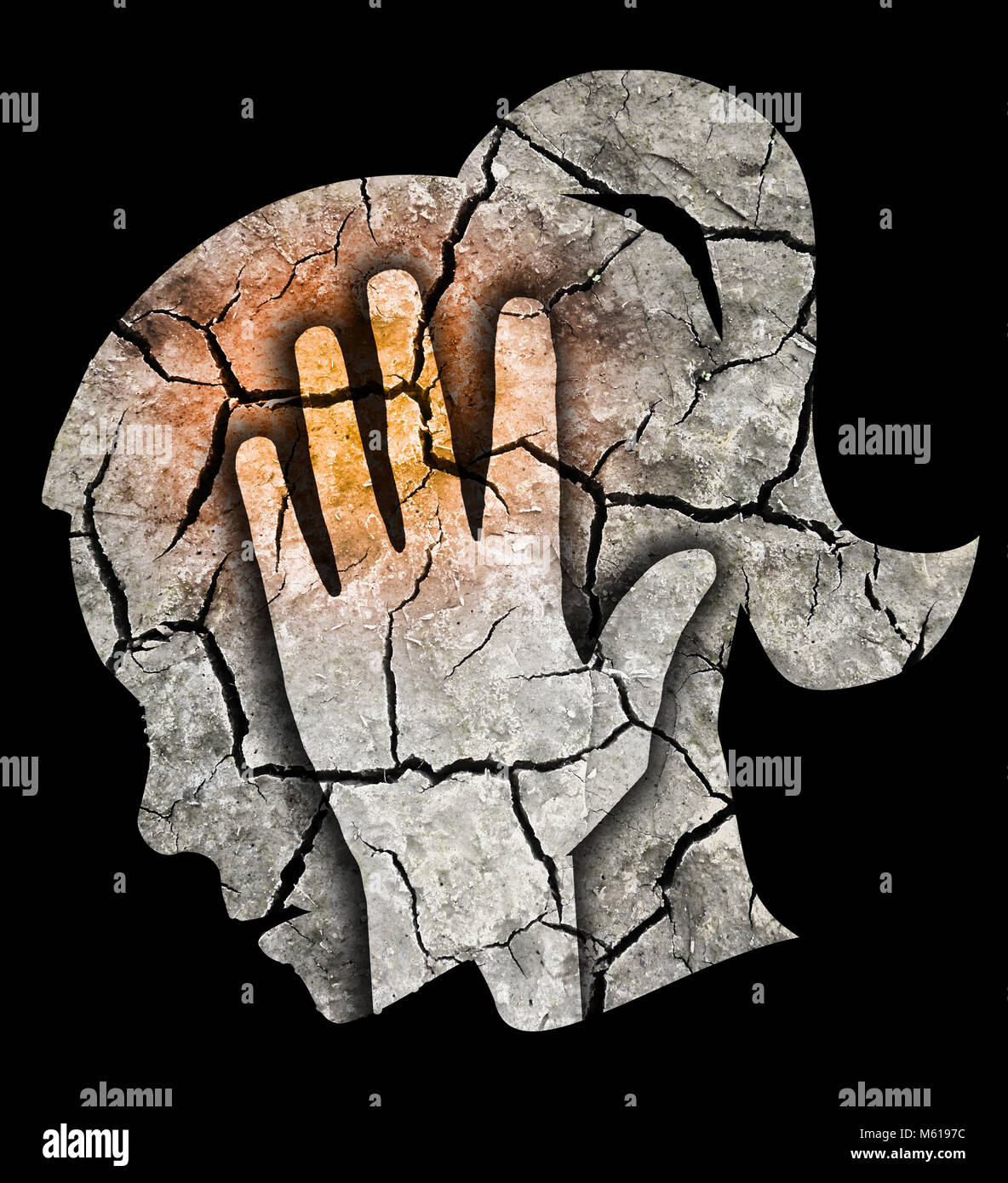Woman Depression Headache. Woman holding her head. Photo-montage with Dry brown cracked earth symbolizing Depression, - Stock Image
