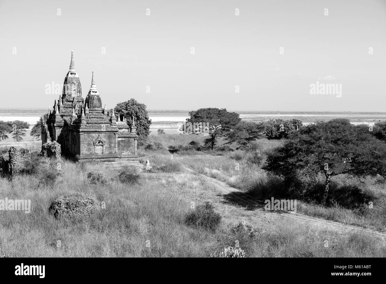 Irrawaddy River with Pagodas in Bagan, Myanmar - Stock Image