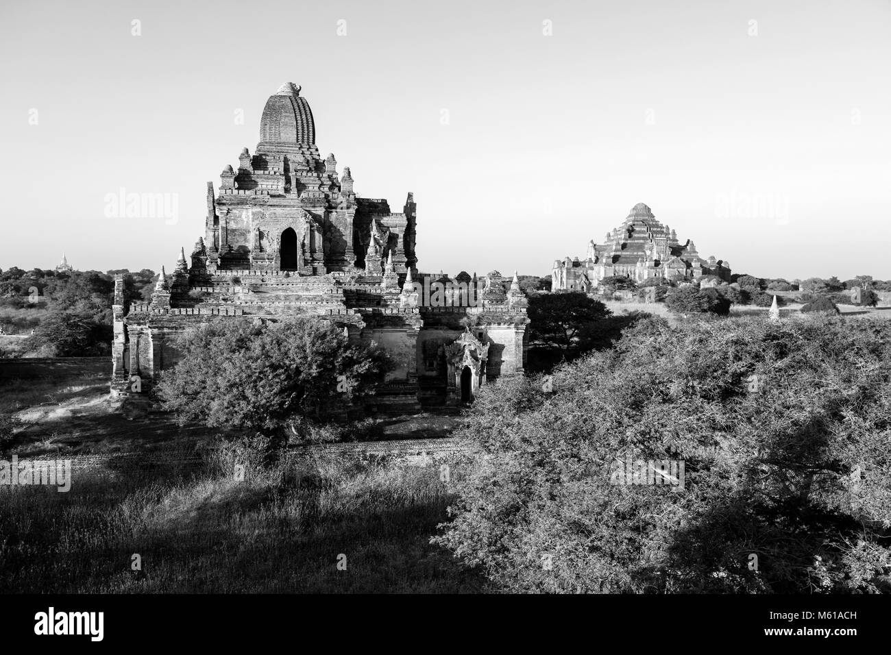 Two ancient Pagodas in Bagan, Myanmar - Stock Image