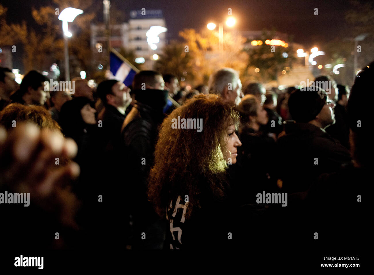 -  16/12/2012  -  Athens  -  A crowd is gathered in Nikaia, a suburb of Athens, where a Golden Dawn demonstration - Stock Image