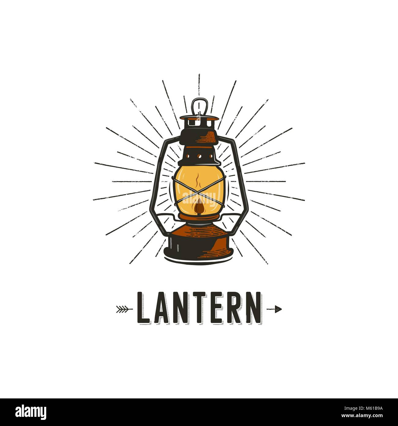 Vintage hand-drawn lantern concept. Perfect for logo design, badge, camping labels. Retro colors. Symbol for outdoor - Stock Vector