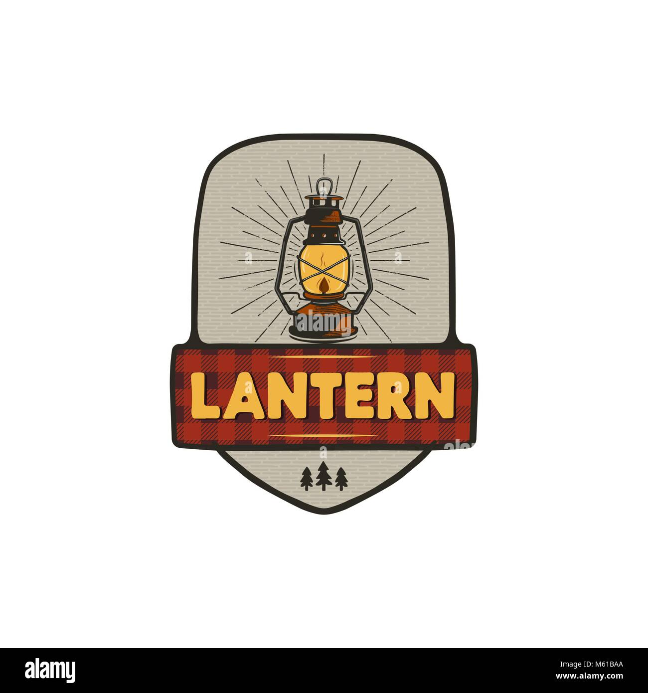 Vintage hand drawn camping logo with lantern. Retro style camping logo. Outdoor adventure badge design. Travel and - Stock Vector