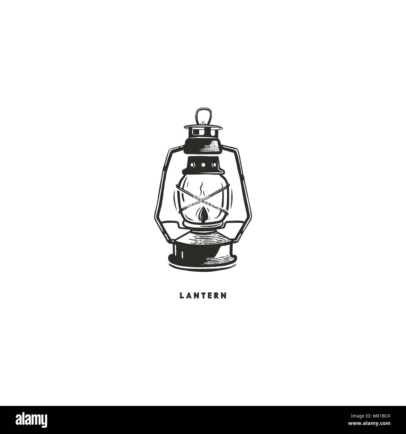 Vintage hand drawn lantern concept. Perfect for logo design, badge, camping labels. Monochrome. Symbol for outdoor - Stock Vector