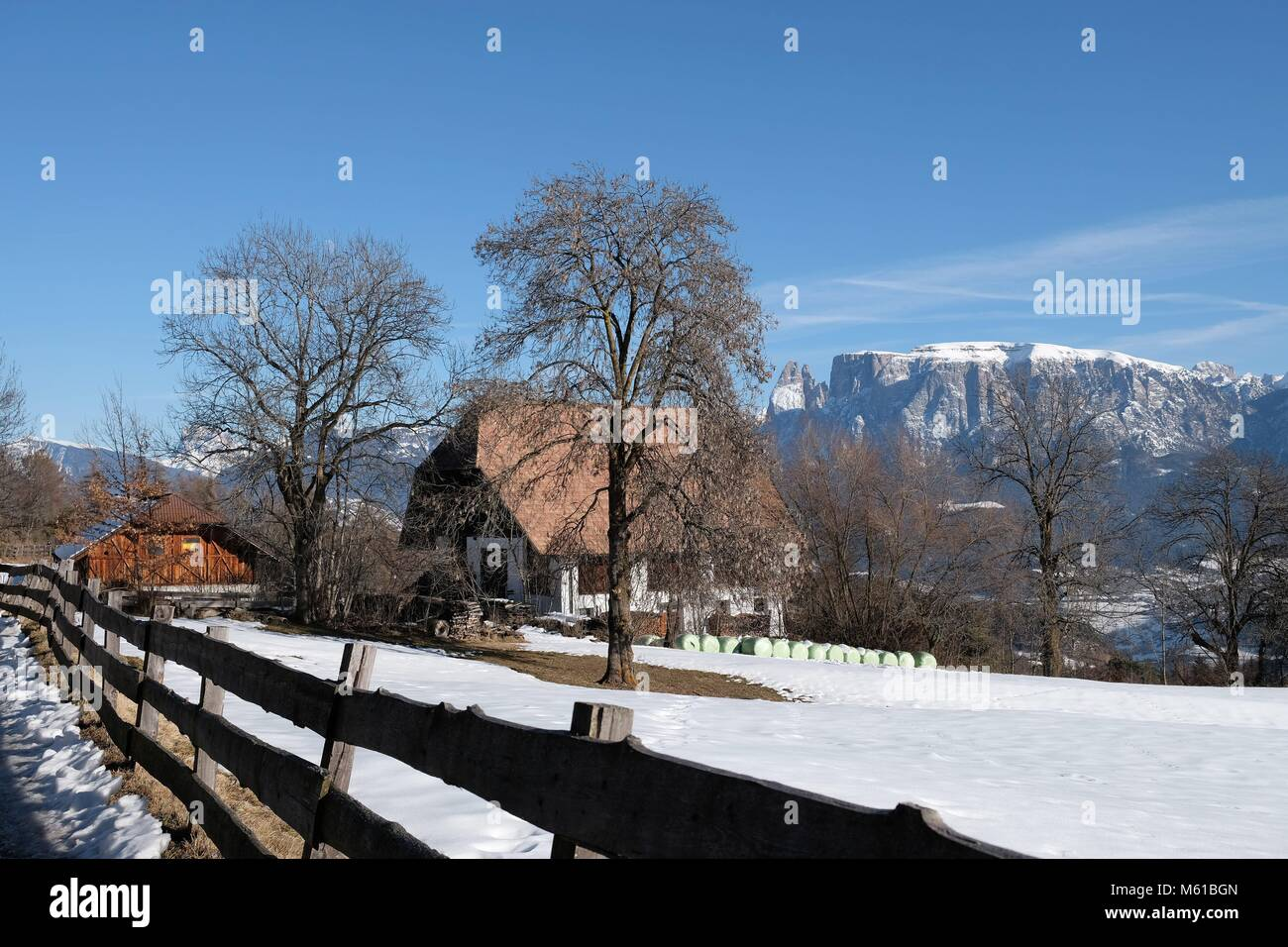 Freud Promenade on the Renon from Sopra Bolzano to Collalbo in South Tyrol - Italy in Winter - the famous psychologist - Stock Image