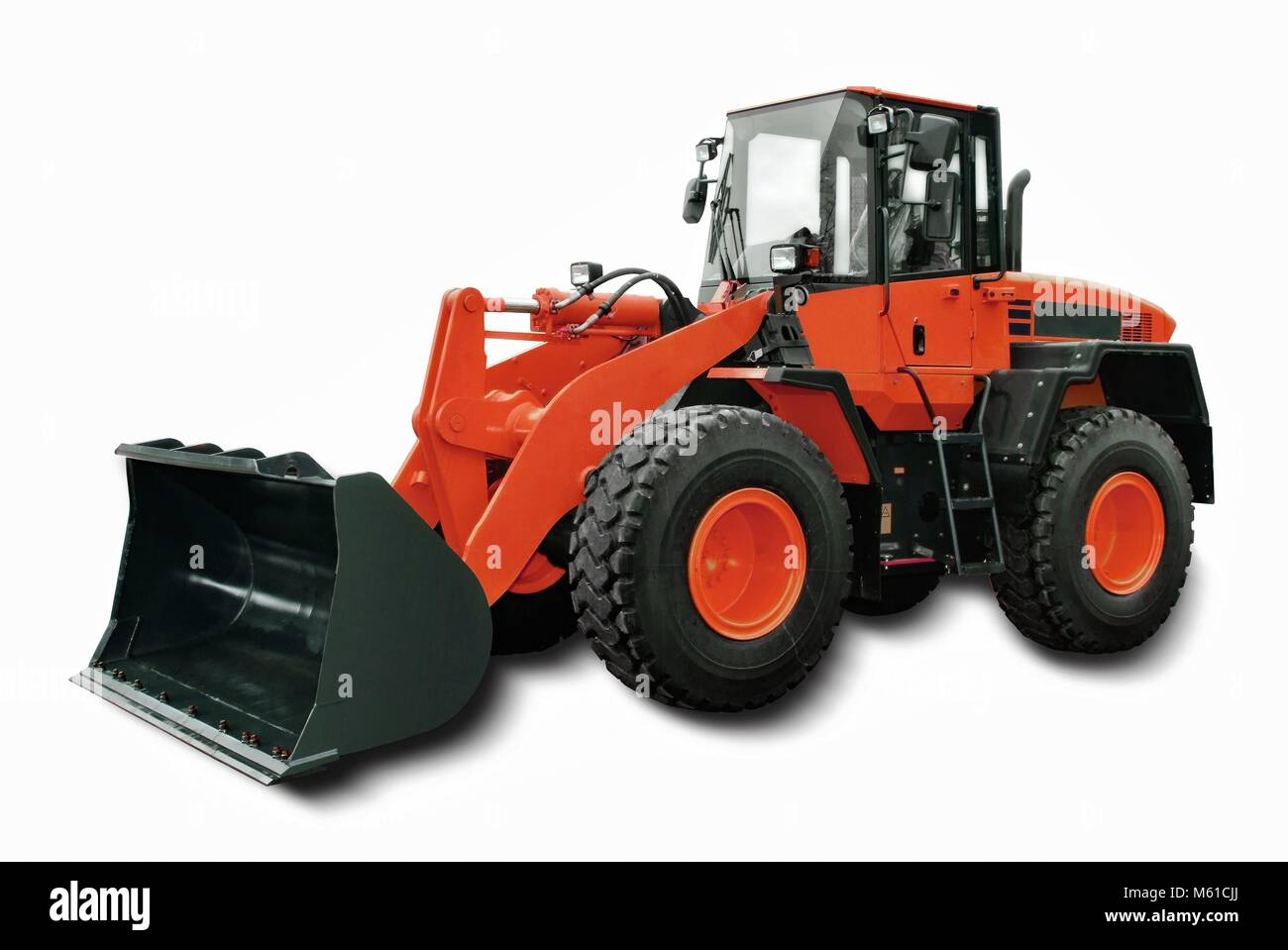 Red Wheel Loader isolated on white background. | usage worldwide - Stock Image