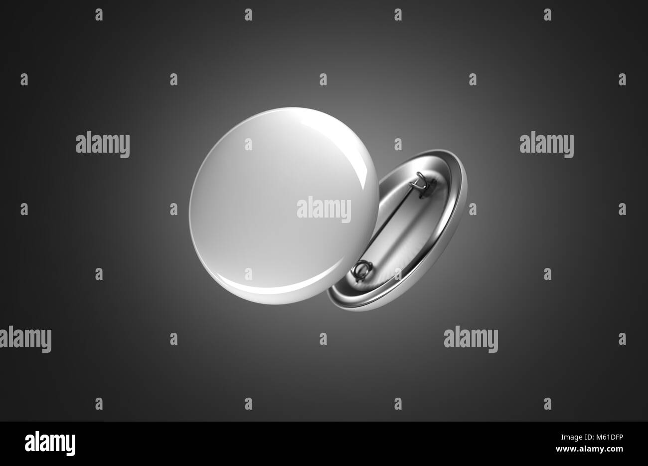 Blank white button badge mockup, isolated on black, clipping path, 3d rendering. Empty clear pin emblem mock up. Stock Photo