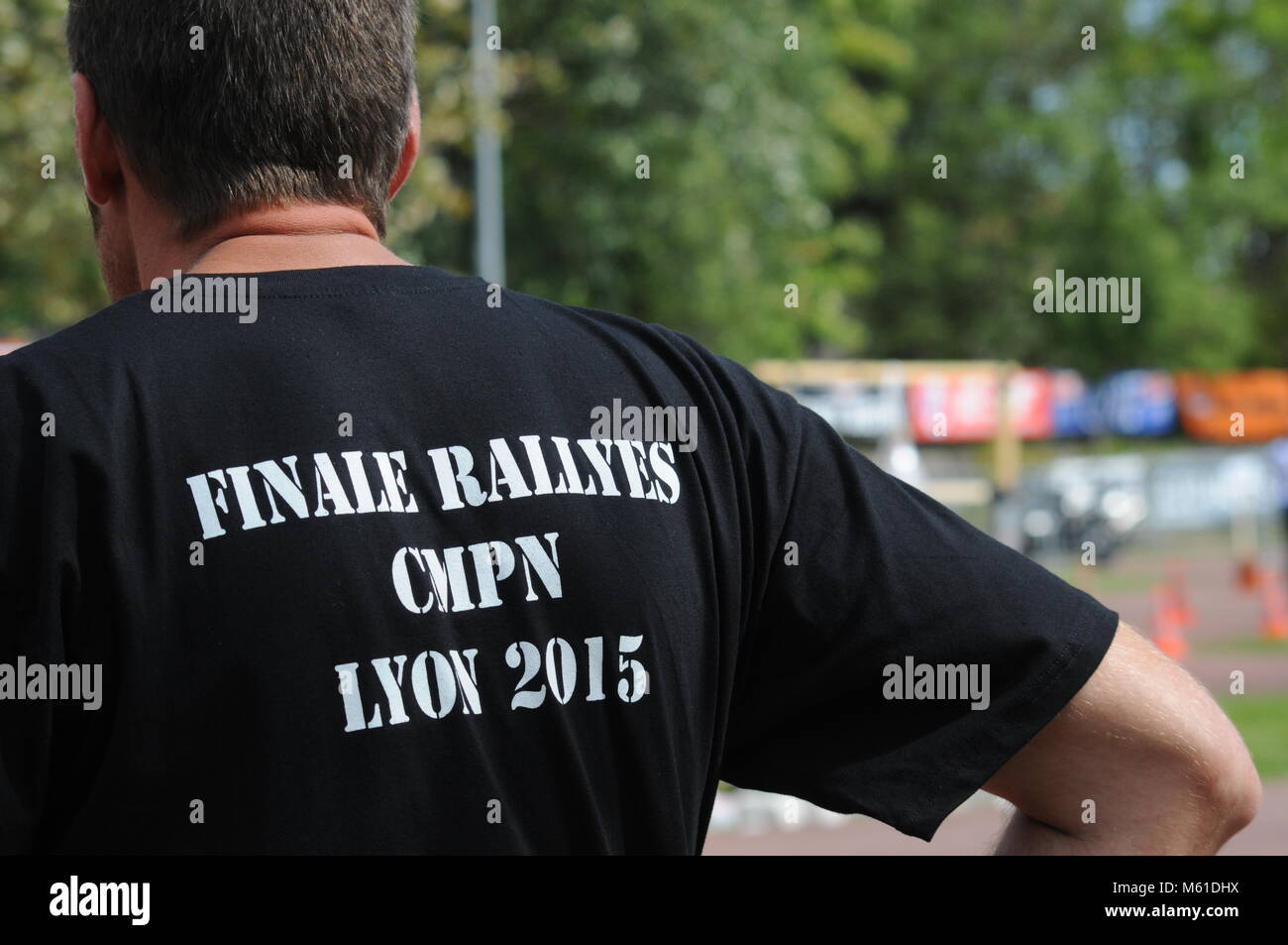 Police motorcyclists attend  the Finale of French National Police Rallye, Sainte-Foy les Lyon, France - Stock Image