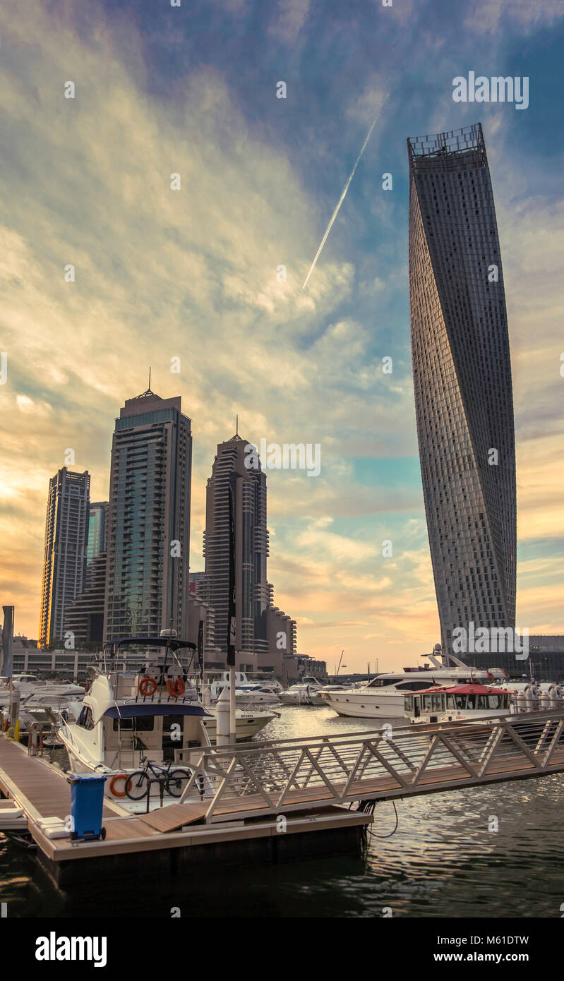 Dubai skyline at sundown, Dubai Marina, United Arab Emirates. - Stock Image
