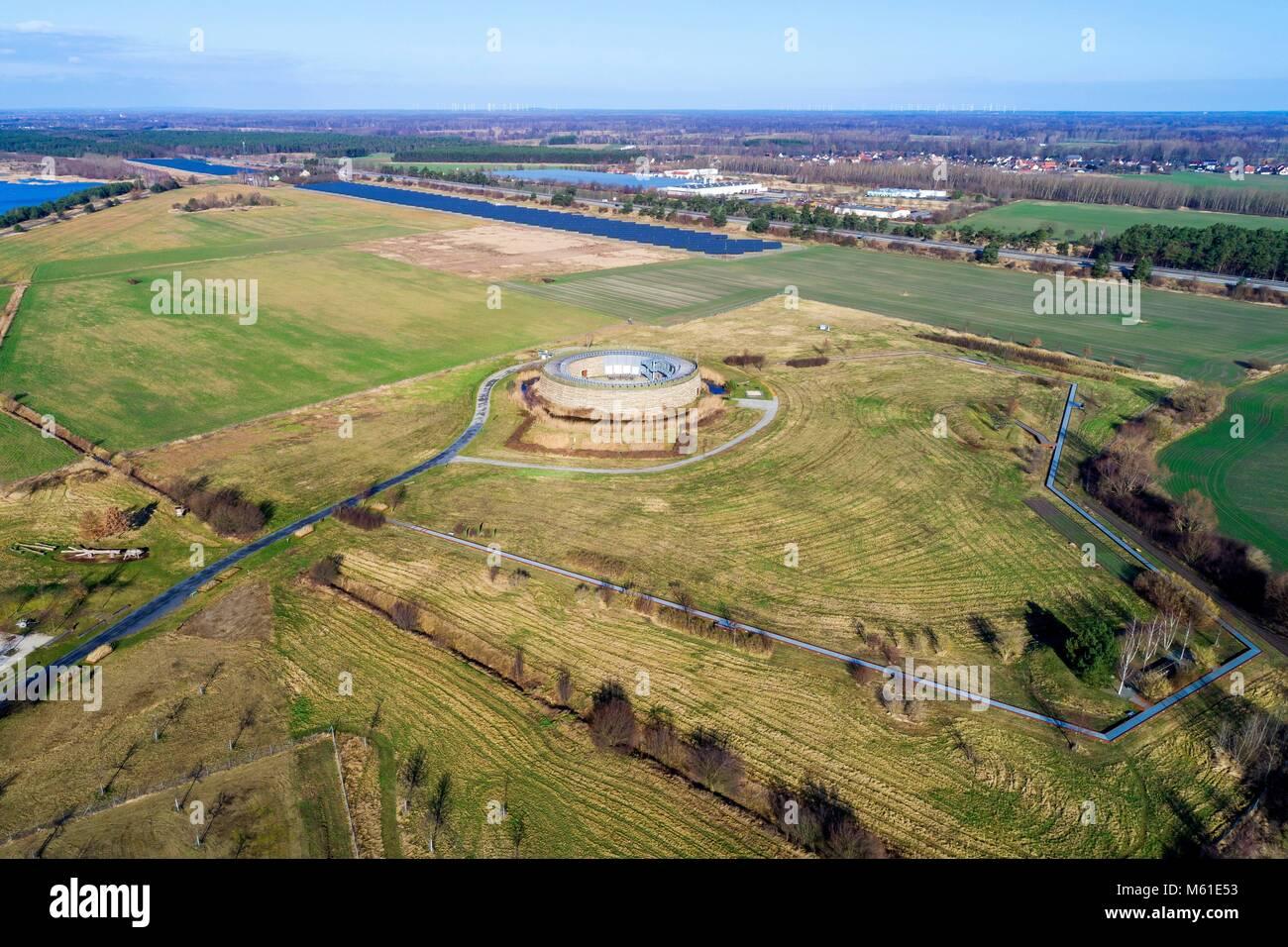 Aerial photo of the 'Slawenburg Raddusch' near Vetschau (Brandenburg), 02 Febr 2018   usage worldwide - Stock Image