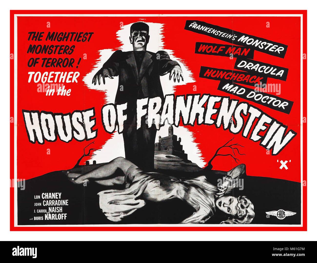 1940's House of Frankenstein Vintage Film Poster, 1944 Classic Horror Film Stock Photo