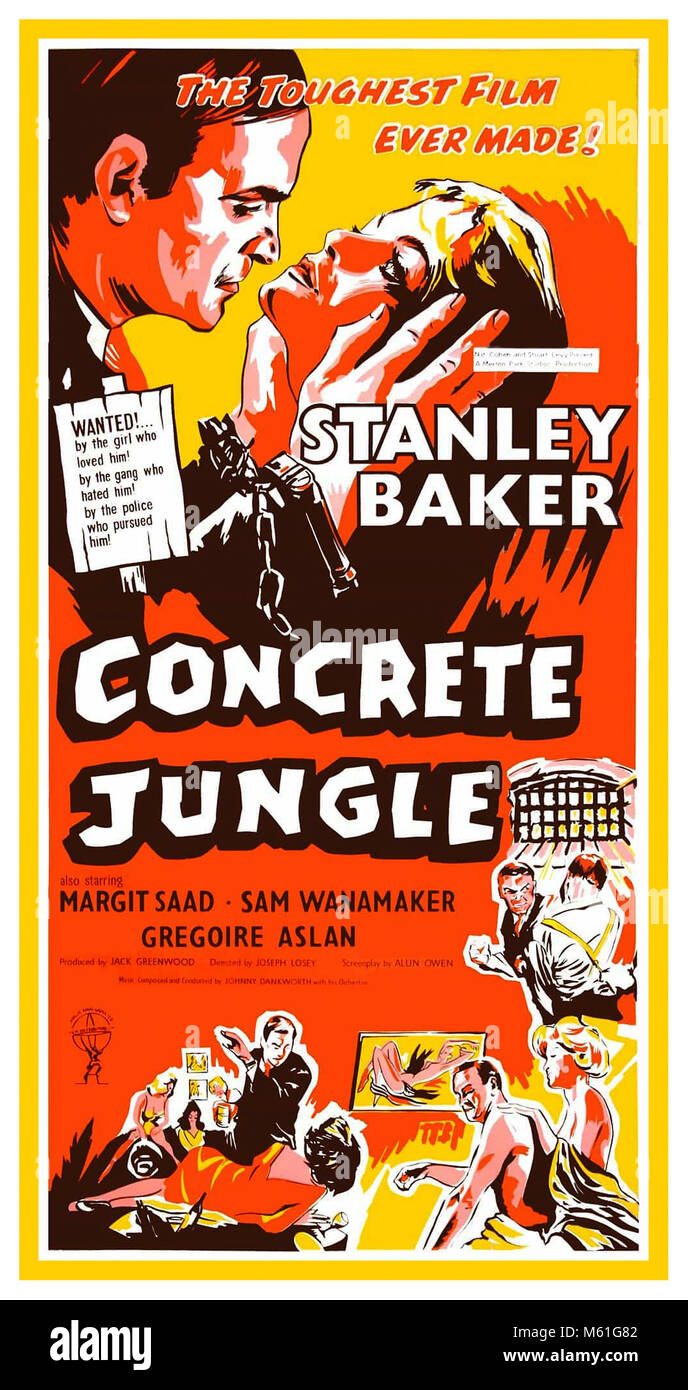 1960's Vintage Classic Movie Poster Concrete Jungle by Joseph Losey The classic poster advertises the 1960 British - Stock Image