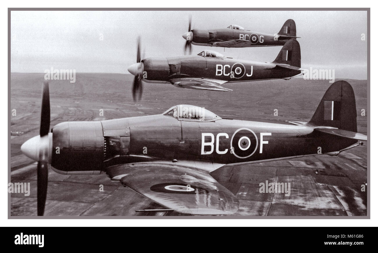 Vintage B&W 1940's Hawker Sea Fury aircraft Naval Sea Bombers in formation post WW2 - Stock Image