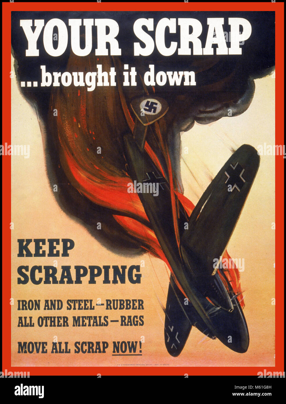 VINTAGE PROPAGANDA USA WW2 POSTER 'YOUR SCRAP BROUGHT IT DOWN.' asking the American public to recycle metal - Stock Image