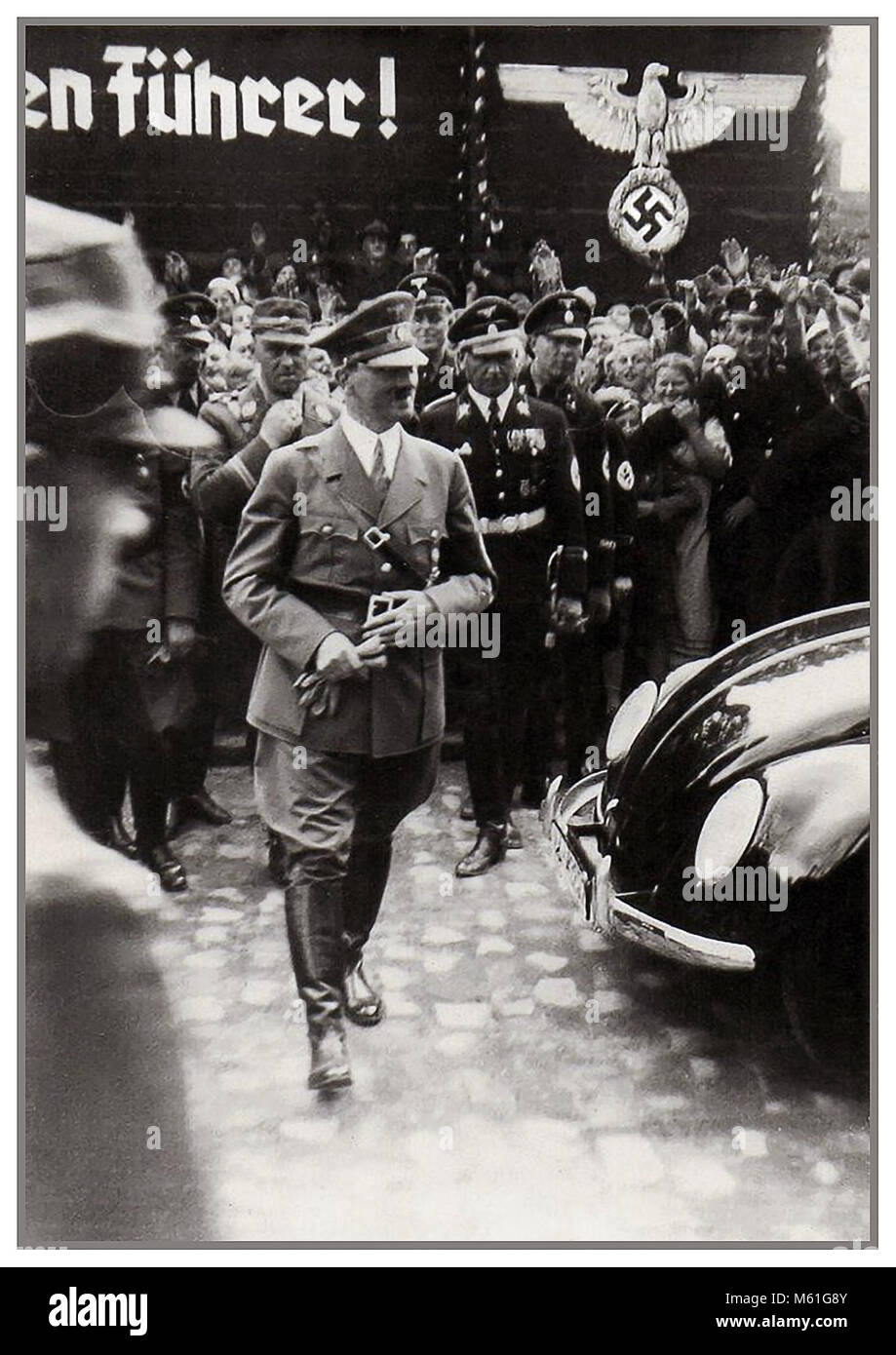 1930's ADOLF HITLER  at the launch of 'the people's car' KDF VW Volkswagen Beetle prototype convertible - Stock Image