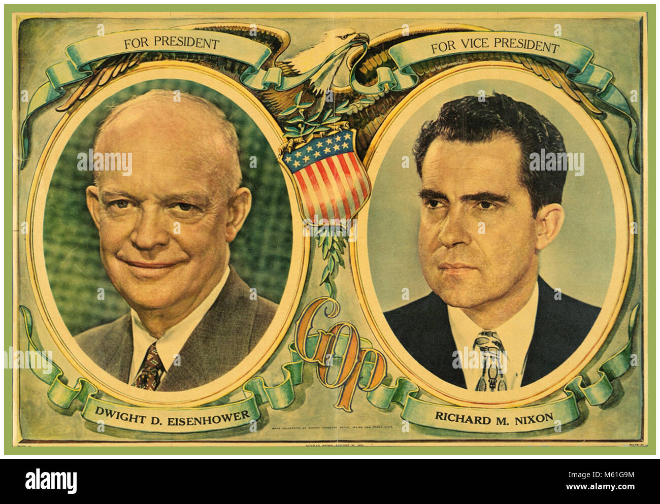 1950's VINTAGE USA AMERICAN PRESIDENTIAL CAMPAIGN POSTER 1952 EISENHOWER NIXON The United States presidential election - Stock Image