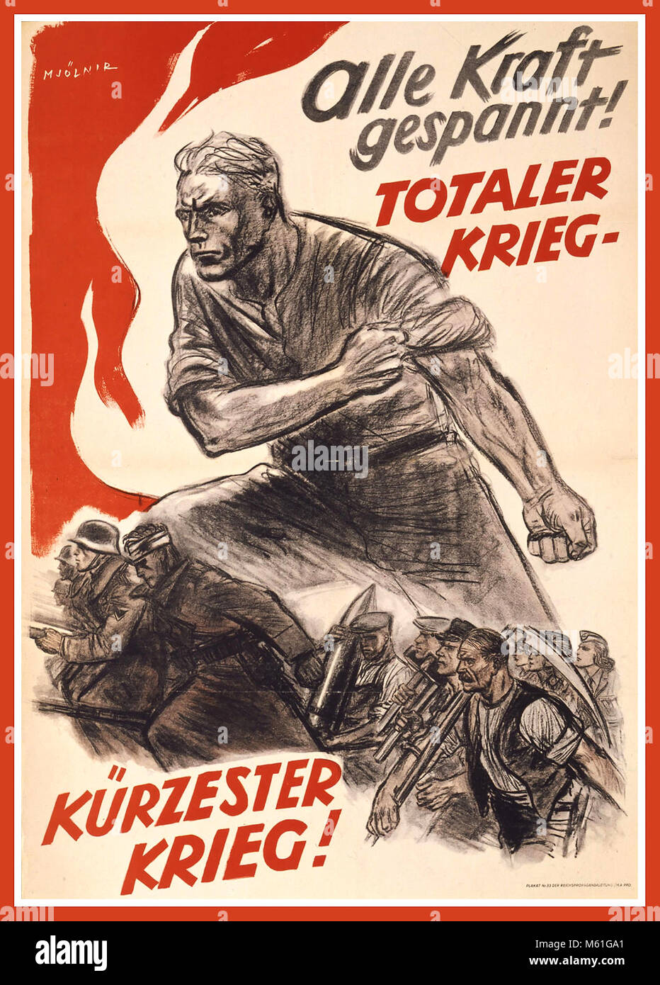 1940's WW2 Vintage Nazi Germany Propaganda Poster 'With all power ready total war...Shortest war' Stock Photo