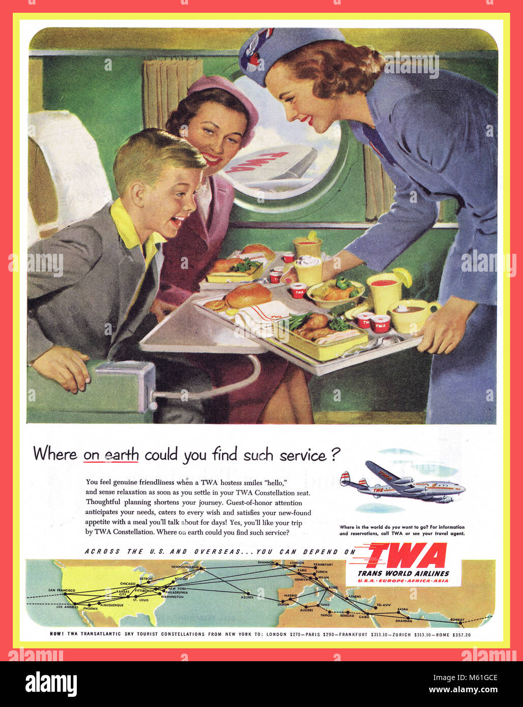 TWA 1950's Vintage Airlines Press Advertisement for TWA illustrating a happy boy child passenger being served - Stock Image