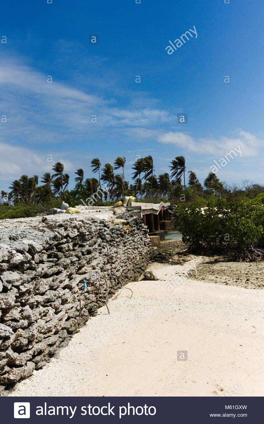 Collapsed bridge at Tabiteuea Island - Stock Image