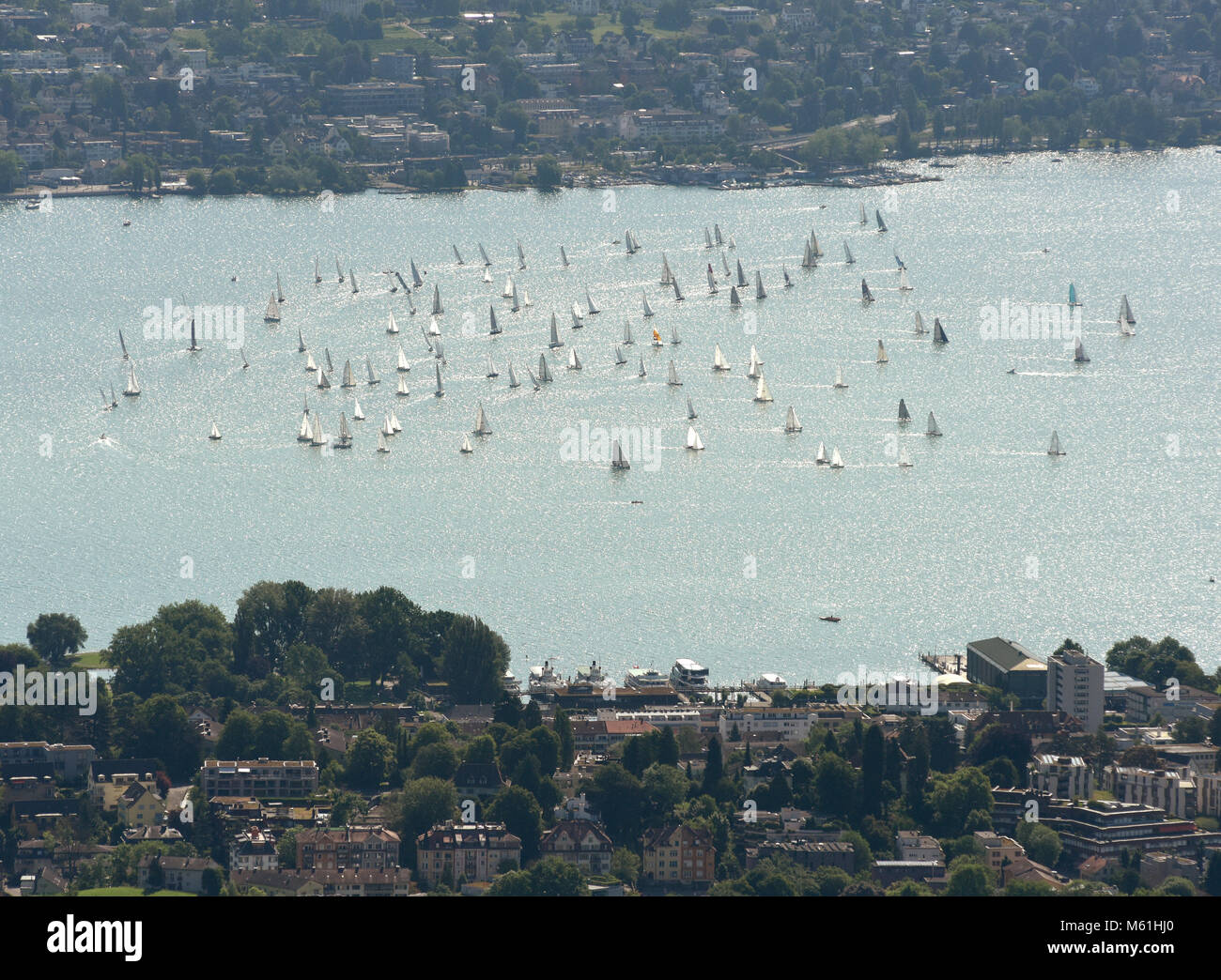 Yachts and boats on lake of Zurich top view from Uetliberg in Zurich, Switzerland - Stock Image