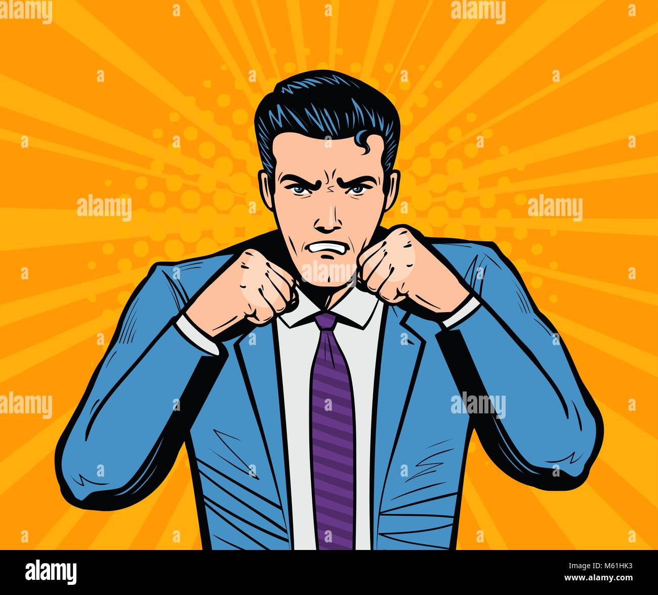 Aggressive businessman or super hero with fists. Business concept in pop art retro comic style. Cartoon vector illustration - Stock Vector