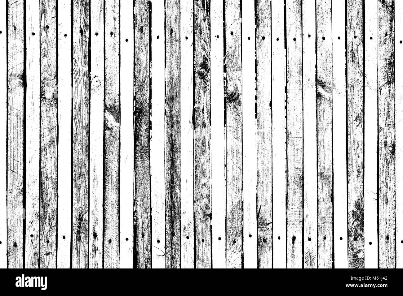 Grunge wooden pattern for overlay on surfaces, planks with many nails and screws, many knots, cracks, scratches - Stock Image